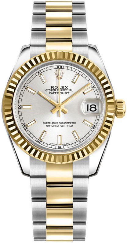 repliche Orologio Rolex Datejust 31 con lunetta scanalata in oro giallo 178273
