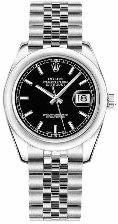 repliche Orologio Rolex Datejust 31 con quadrante a cupola quadrante nero 178240