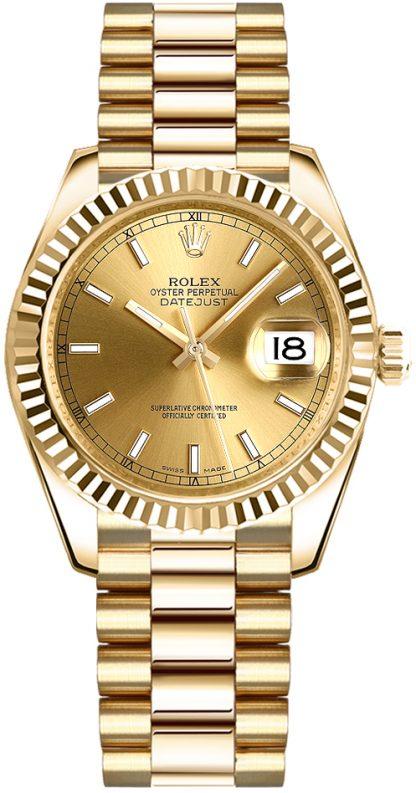 repliche Orologio Rolex Datejust 31 con quadrante in oro champagne 178278