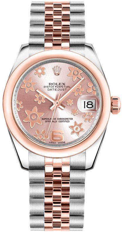 repliche Orologio Rolex Datejust 31 con quadrante motivo floreale rosa 178241