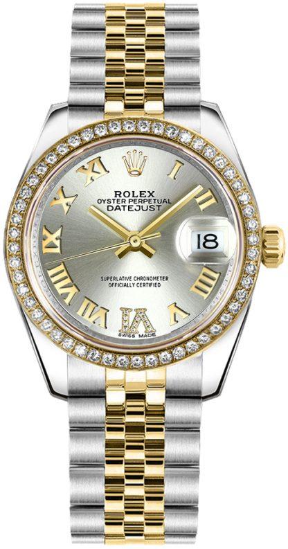 repliche Orologio Rolex Datejust 31 in argento con numeri romani e diamanti 178383
