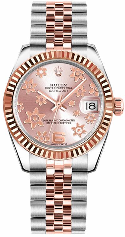 repliche Orologio Rolex Datejust 31 quadrante motivo floreale rosa 178271