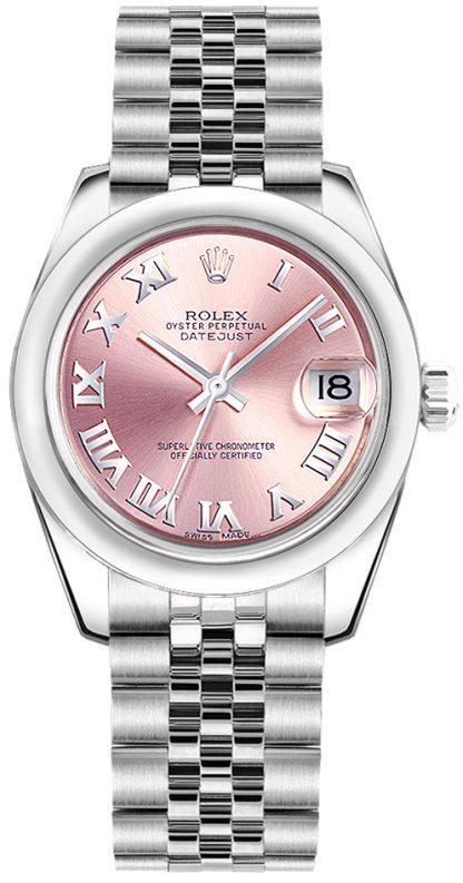 repliche Orologio Rolex Datejust 31 quadrante numeri romani rosa 178240