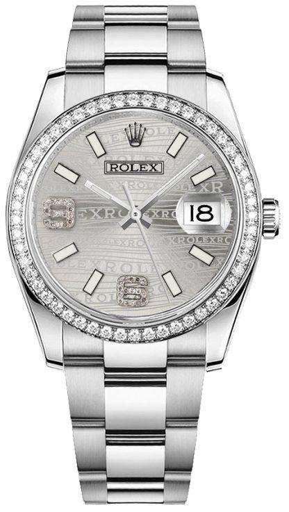 repliche Orologio Rolex Datejust 36 in acciaio inossidabile e oro bianco 18 carati 116244