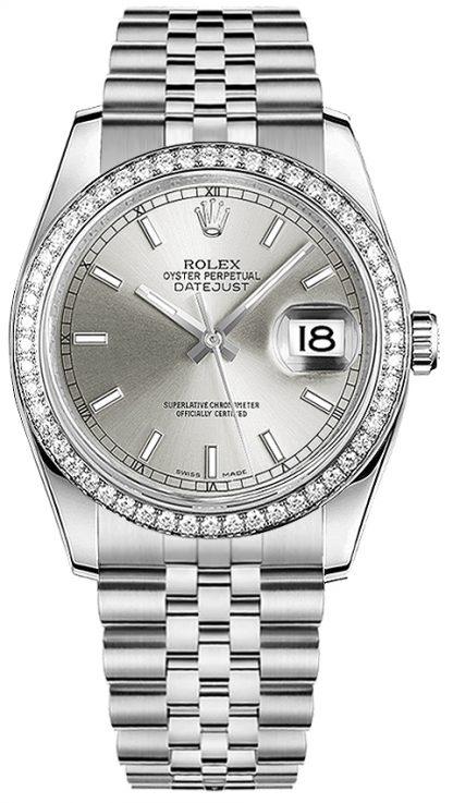 repliche Orologio Rolex Datejust 36 in oro bianco massiccio e acciaio 116244