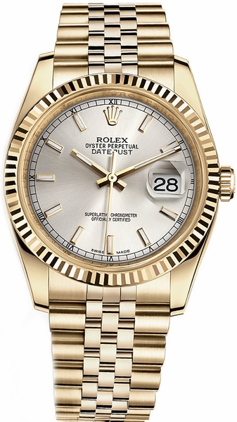 repliche Orologio Rolex Datejust 36 quadrante argento orologio d'oro 116238