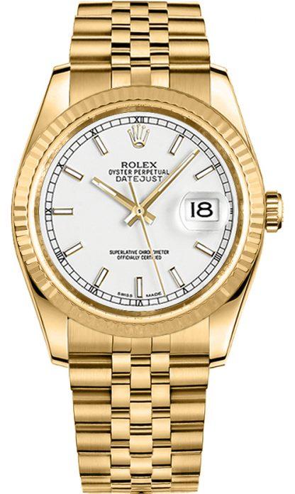 repliche Orologio Rolex Datejust 36 quadrante bianco oro giallo 116238