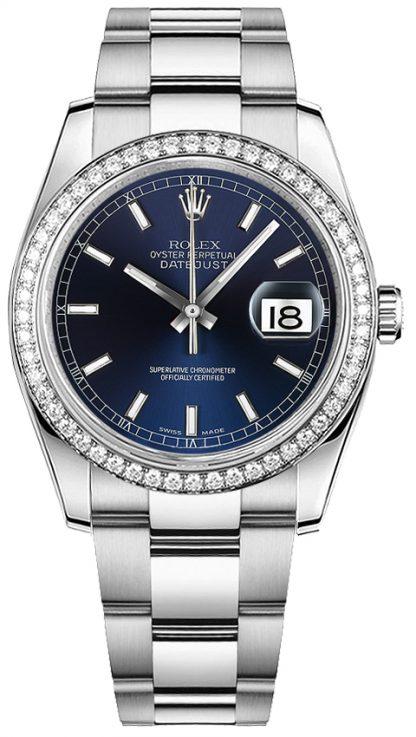 repliche Orologio Rolex Datejust 36 quadrante blu Oyster Bracciale in oro bianco e acciaio 116244