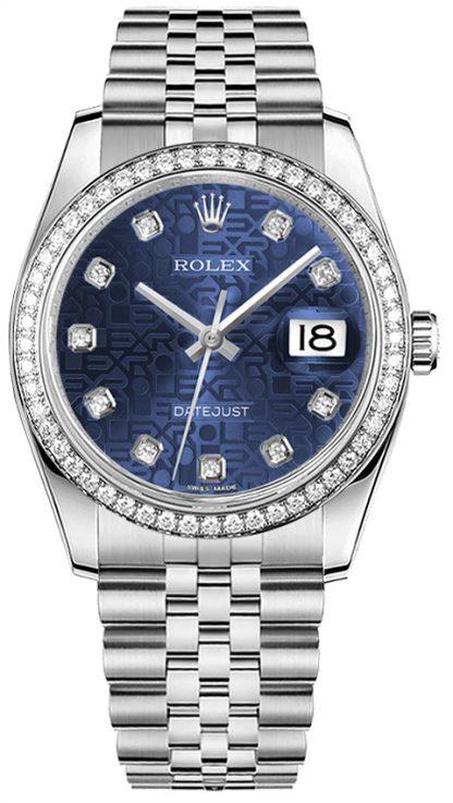 repliche Orologio Rolex Datejust 36 quadrante blu oro bianco e acciaio 116244