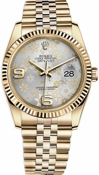 repliche Orologio Rolex Datejust 36 quadrante floreale argento 116238