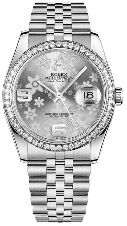 repliche Orologio Rolex Datejust 36 quadrante floreale argento 116244