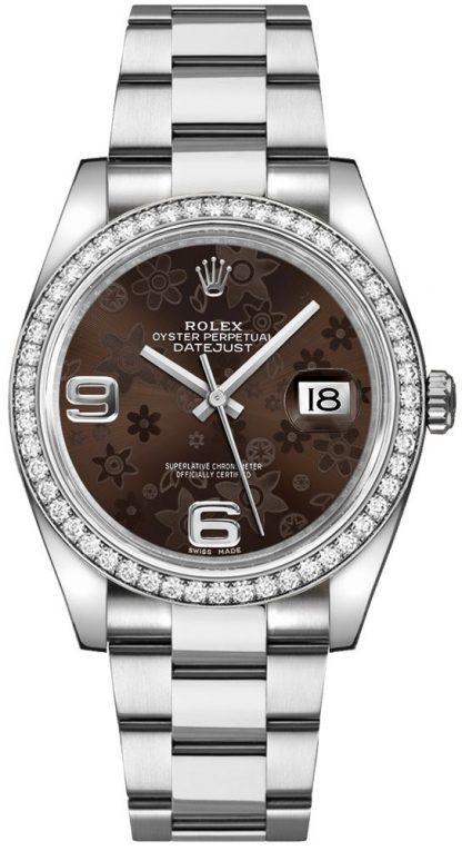 repliche Orologio Rolex Datejust 36 quadrante floreale marrone 116244