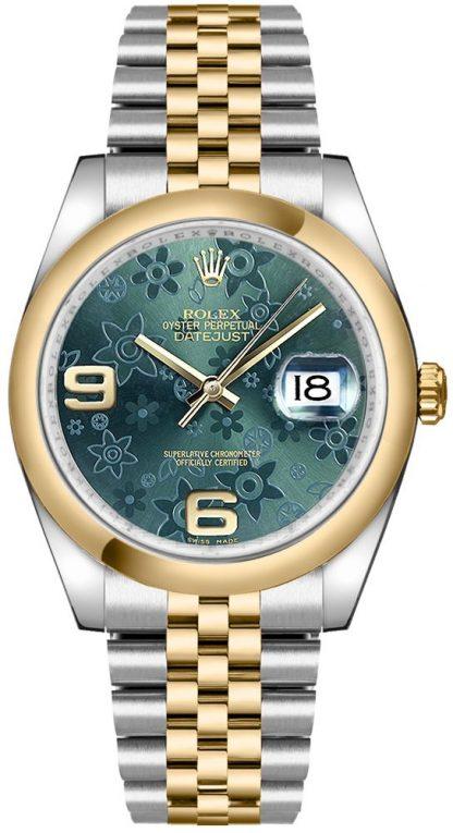 repliche Orologio Rolex Datejust 36 quadrante floreale verde 116203