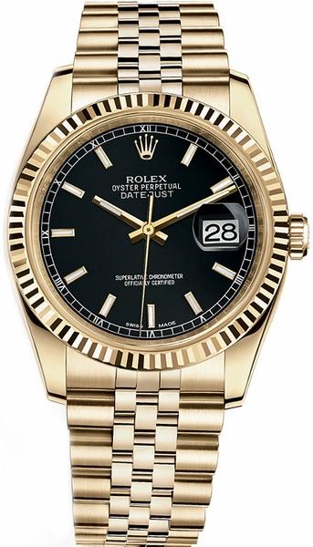 repliche Orologio Rolex Datejust 36 quadrante nero in oro massiccio 116238
