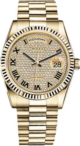 repliche Orologio Rolex Day-Date 36 Diamond Pave Watch 118238