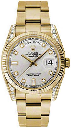 repliche Orologio Rolex Day-Date 36 con diamanti in argento e oro 118338