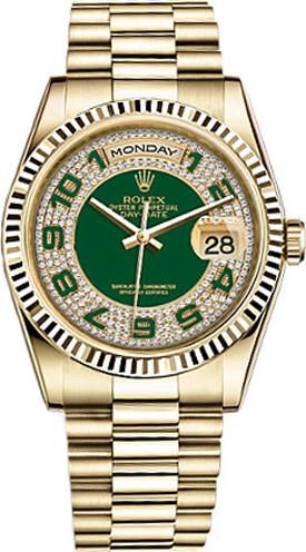 repliche Orologio Rolex Day-Date 36 con quadrante in oro verde con quadrante pavé di diamanti 118238
