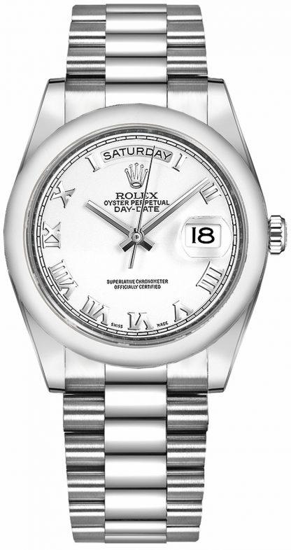 repliche Orologio Rolex Day-Date 36 in oro massiccio bianco con numeri romani 118209