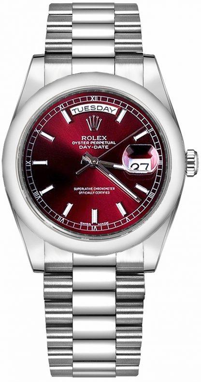 repliche Orologio Rolex Day-Date 36 in platino con quadrante rosso ciliegia 118206