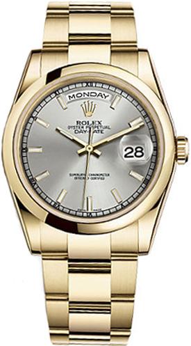 repliche Orologio Rolex Day-Date 36 quadrante argento orologio in oro 118208