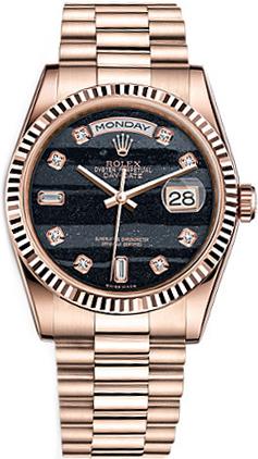 repliche Orologio Rolex Day-Date 36 quadrante in oro nero con quadrante in oro 118235