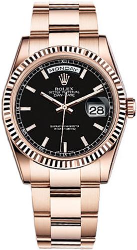 repliche Orologio Rolex Day-Date 36 quadrante nero orologio in oro 118235