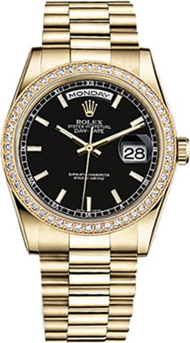 repliche Orologio Rolex Day-Date 36 quadrante nero orologio in oro 118348