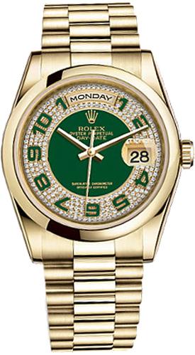repliche Orologio Rolex Day-Date 36 quadrante verde orologio in oro 118208