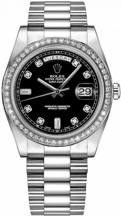 repliche Orologio Rolex Day-Date 41 Black Diamond in oro bianco 218349