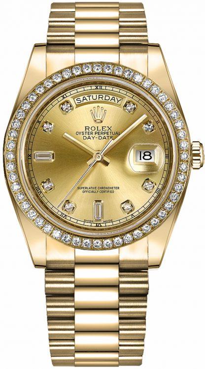 repliche Orologio Rolex Day-Date 41 con quadrante in oro con diamanti champagne 218348