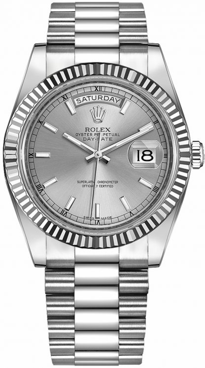 repliche Orologio Rolex Day-Date 41 quadrante bianco in oro bianco 218239