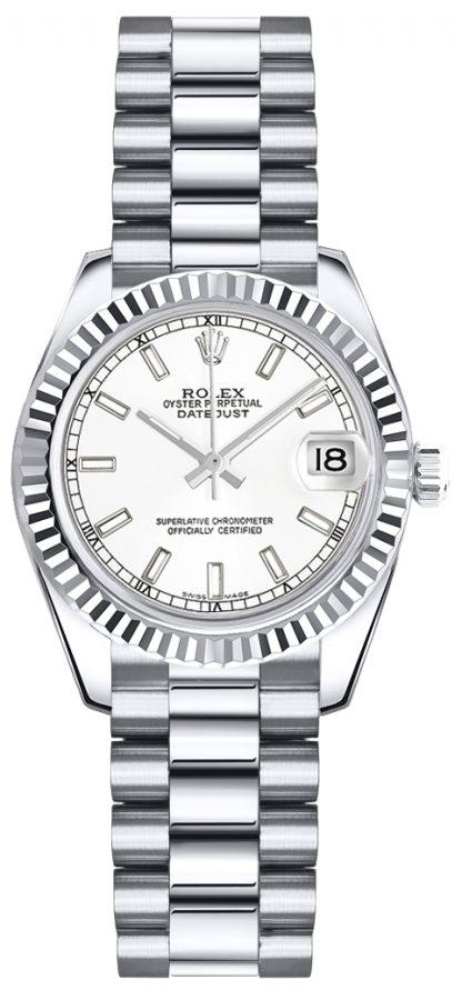repliche Orologio Rolex Lady-Datejust 26 President con quadrante bianco Orologio 179179
