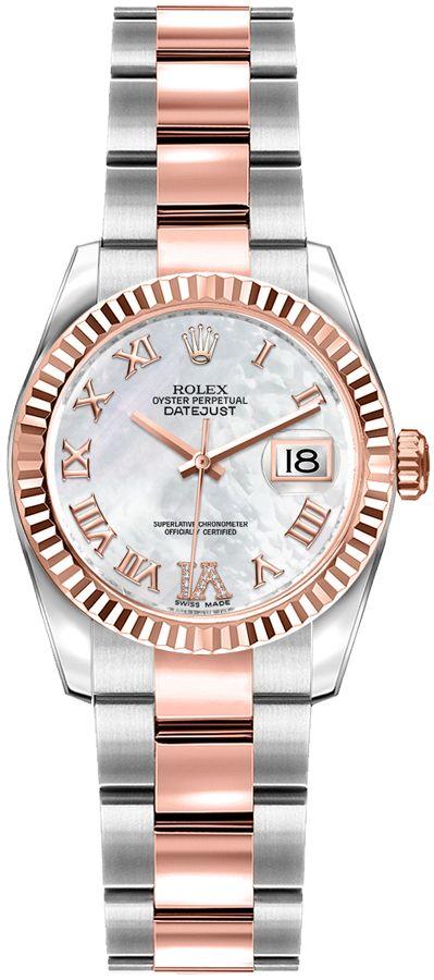 repliche Orologio Rolex Lady-Datejust 26 madreperla in oro rosa e acciaio 179171