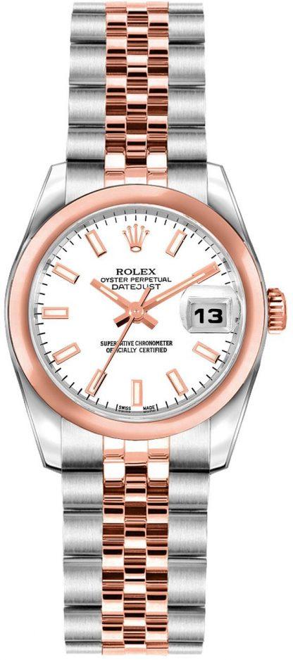 repliche Orologio Rolex Lady-Datejust 26 quadrante bianco oro rosa e acciaio 179161