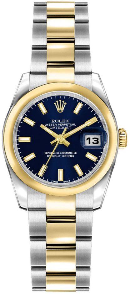 repliche Orologio Rolex Lady-Datejust 26 quadrante blu acciaio e oro rosa 179163