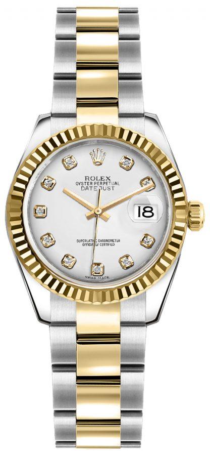 repliche Orologio Rolex Lady-Datejust 26 quadrante diamante bianco 179173