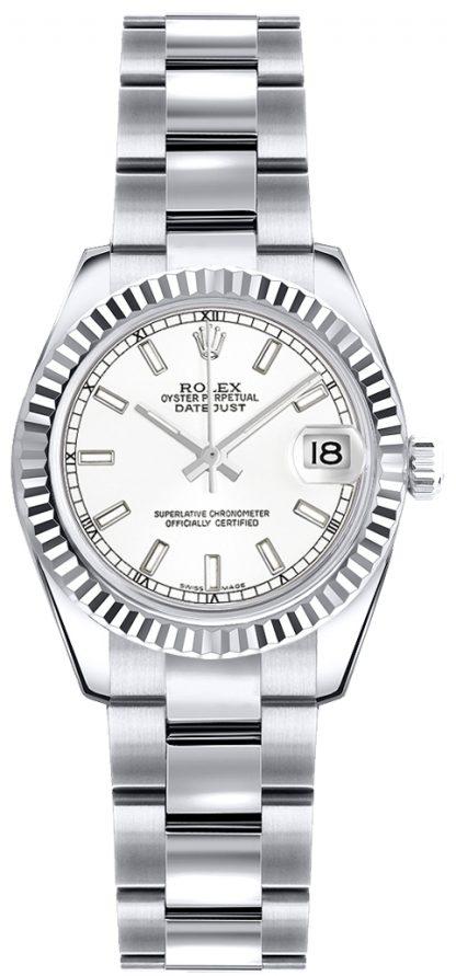 repliche Orologio Rolex Lady-Datejust 26 quadrante in oro bianco 179179