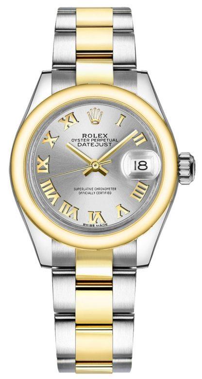 repliche Orologio Rolex Lady-Datejust 28 in argento con numeri romani in oro e acciaio 279163