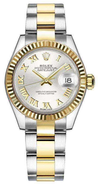 repliche Orologio Rolex Lady-Datejust 28 in argento con numero romano 279173