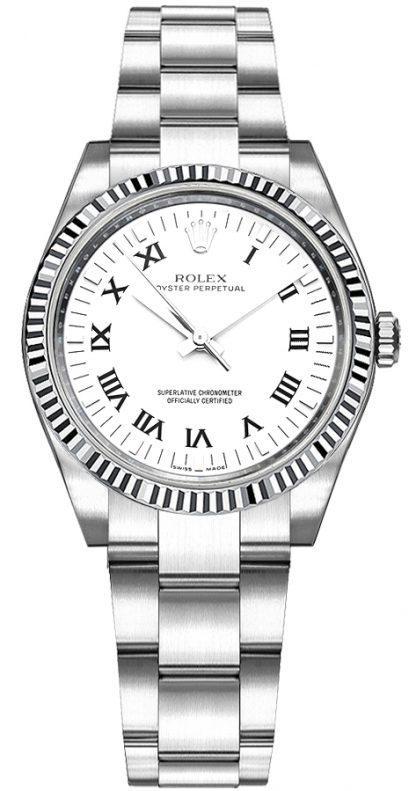 repliche Orologio Rolex Oyster Perpetual 31 quadrante bianco numeri romani 177234