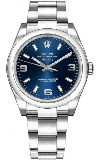 repliche Orologio Rolex Oyster Perpetual 34 quadrante blu di medie dimensioni 114200