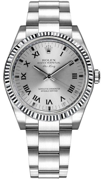repliche Orologio Rolex Oyster Perpetual Air-King in acciaio inossidabile e lunetta in oro 114234