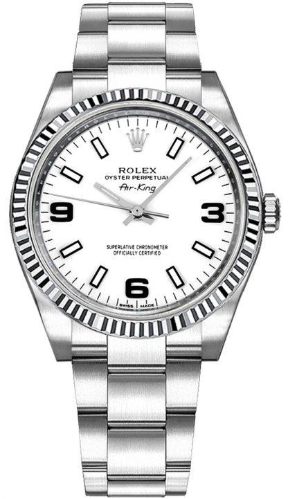 repliche Orologio Rolex Oyster Perpetual Air-King quadrante bianco 114234