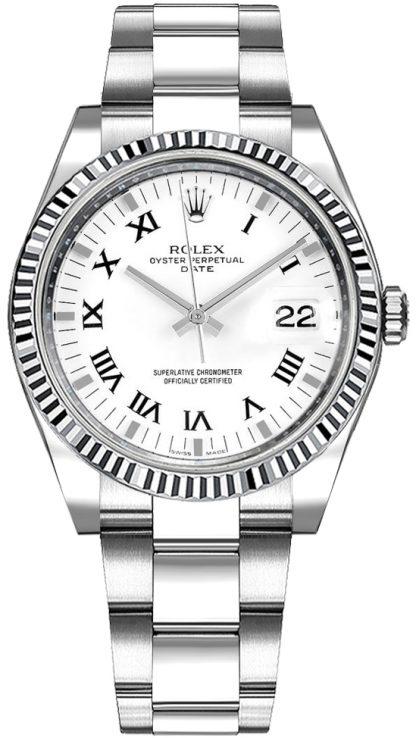 repliche Orologio Rolex Oyster Perpetual Date 34 bianco numeri romani 115234