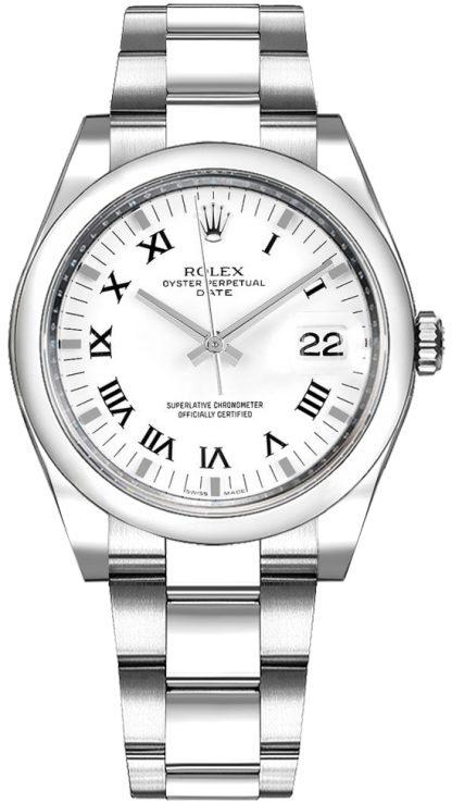 repliche Orologio Rolex Oyster Perpetual Date 34 bianco quadrante numeri romani 115200