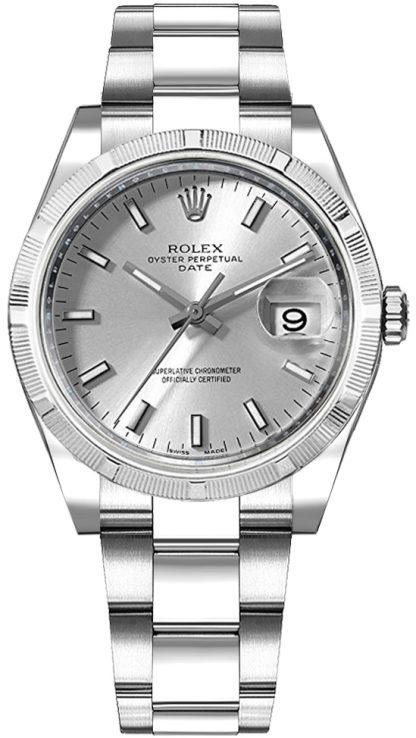 repliche Orologio Rolex Oyster Perpetual Date 34 con quadrante argento 115210