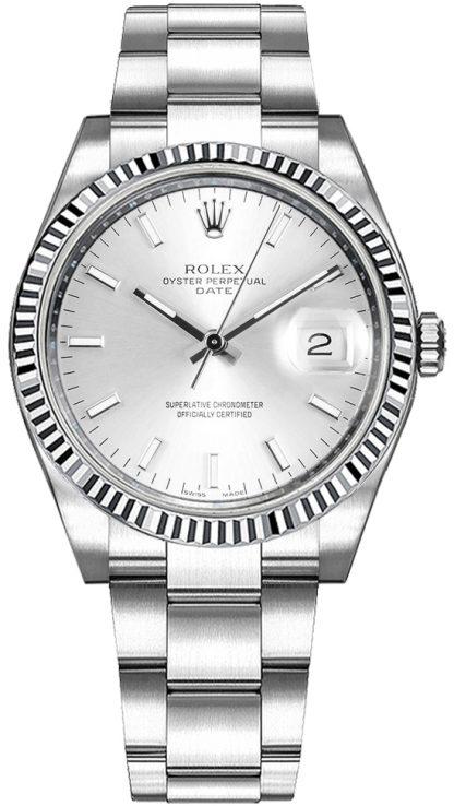 repliche Orologio Rolex Oyster Perpetual Date 34 con quadrante argento 115234