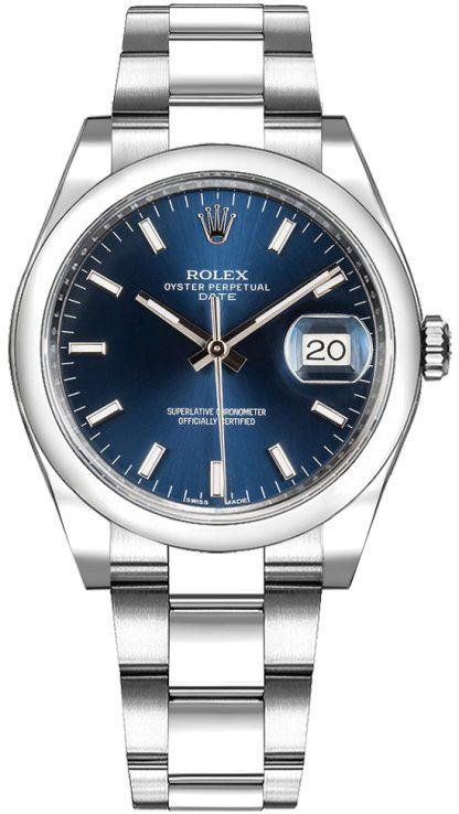 repliche Orologio Rolex Oyster Perpetual Date 34 quadrante blu 115200