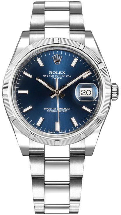 repliche Orologio Rolex Oyster Perpetual Date 34 quadrante blu 115210