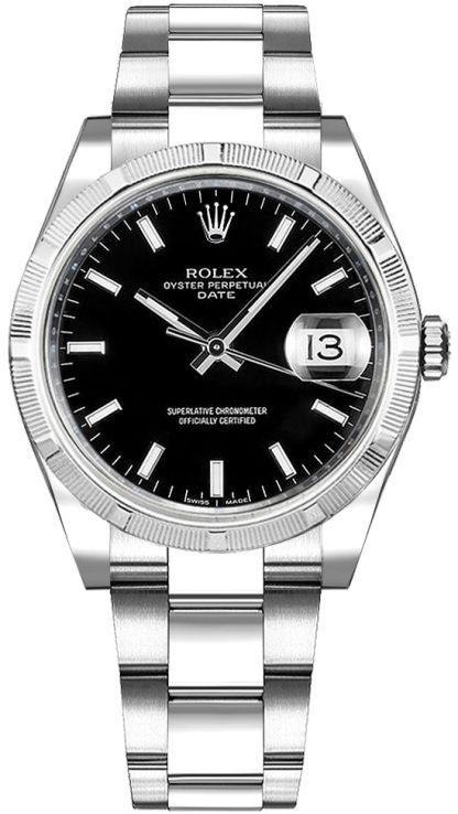 repliche Orologio Rolex Oyster Perpetual Date 34 quadrante nero 115210
